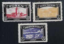 c. 1921 German lot of 3 European Lost Colonies Mourning Cinderellas Mint