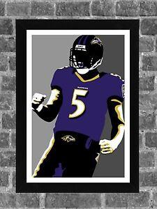 Baltimore Ravens Joe Flacco Portrait Sports Print Art 11x17