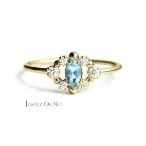 14K Gold Genuine Marquise Shape Aquamarine And Diamond Floral Ring Fine Jewelry