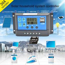 30A PWM 12V/24V Solar Panel Battery Regulator Charge Controller LCD Display USB