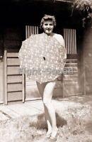 WW2 Picture Photo Erotic 1940 Eva Braun lover with an umbrella 2934