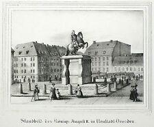 DRESDEN Neustädter Markt - Goldener Reiter - Saxonia - Lithografie 1836