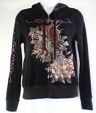 Ed Hardy Velour Hoodie Rhinestone Black Front Zipper Flowers Size S Small