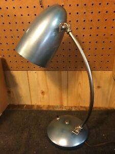 Vtg 1950s Mid Century Modern Chrome & Blue Bullet Adjustable Desk Lamp Atomic