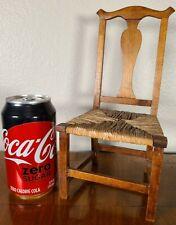 Antique Miniature Salesman Sample Queen Anne Rush Chair Doll American 18th c.