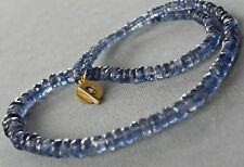 """Kyanite 18k 750 Yellow Gold Toggle Clasp 8 x 3.5 mm Faceted Beads 18"""" Necklace"""