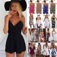 Women Strappy Romper Jumpsuit Shorts Casual Playsuit Summer Beach Mini Sundress