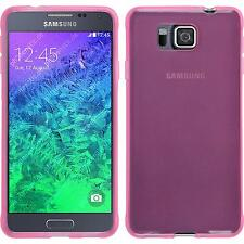 Silicone Case for Samsung Galaxy Alpha transparent pink + protective foils