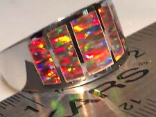 CUSTOM RARE 14 MENS Window Black RED FIRE Opal Ring Sterling Silver 925 GORGEOUS