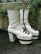 "RARE Vintage 70's Gkam Rock Blocked 5"" Heel Platform Boots Shoes.Bowie,T-Rex,S 9"