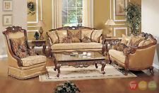 Exposed Wood Luxury Traditional Sofa & LoveSeat Formal Living Room Furniture Set