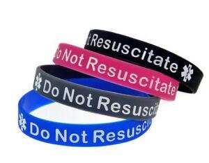 1 x Do Not Resuscitate DNR  Medical Alert Silicone Wrist Band Bracelet UK SELLER