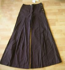ELEVENSES Dark Brown Linen/Viscose Pleated Wide Leg Pants Size 2 Made in USA NWT