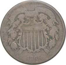 **TWO CENT** 1865 US TWO 2 Cent Piece First Coin with In God We Trust Motto *342