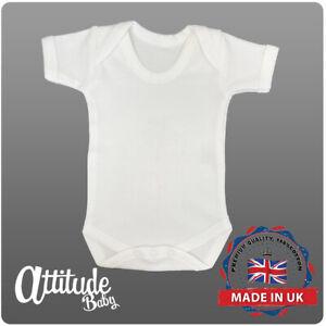 Plain Baby Grows-White Baby Grow-100 % Cotton-Plain Baby Vest-White Babygrow