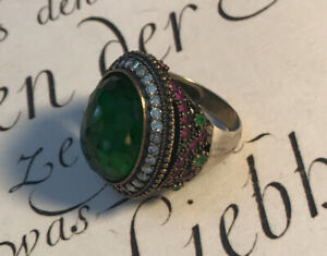 Vintage Sterling Genuine White Sapphire Ruby Emerald Ring