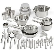 Stainless Steel 52-Piece Cookware Combo Set, with Kitchen Tools and Flatware