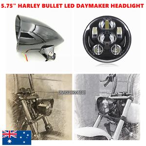 "5.75"" gloss black LED daymaker bullet headlight Harley breakout rocker FXSB FXCW"
