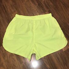Vtg 80s 90s Sunrays NEON YELLOW Nylon Throwback RETRO Athletic shorts LARGE XL