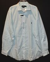 Polo Ralph Lauren Big Tall Mens Green Gingham Button-Front Dress Shirt NWT 4XLT