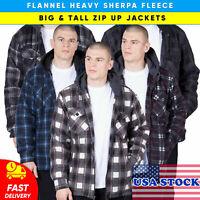 Mens Flannel Jacket Hoodie Heavy Sherpa Fleece Plaid With Hood Big And Tall