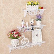 3Pcs White Wooden Wall Mounted Shelf Display Chic Filigree Floating Storage Unit