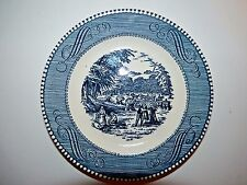 Royal China Ironstone & Currier Ives Dessert Berry Bowl Blue 50s USA Vintage