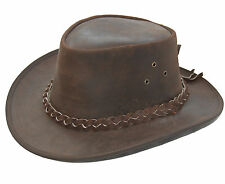 Leather Cowboy Western Aussie Style Bush Hat Brown Pulup Distressed