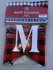 Merry Christmas Hanging Banner. 7.5 Ft. Black & Red Plaid New