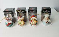 Set of 4  Vintage Caring Critter Chimer Bells Porcelain Christmas Ornaments