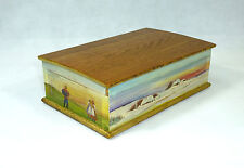 Unusual Hand-Painted Casket Wooden Box Tin Russia Um 1900