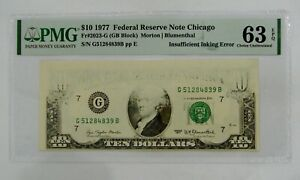 1977 $10 Federal Reserve Note Insufficient Inking Error PMG Choice UNC 63 EPQ