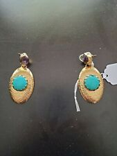 Fashion Jewelry Earings New Turquoise Stone and Amethyst.