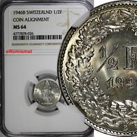 Switzerland Silver 1946 B 1/2 Franc NGC MS64 Standing Helvetia KM# 23 (026)