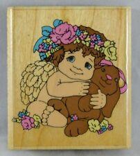 Inkadinkado Wood Block Mounted Rubber Stamp Dreamsicles 4330 Angel Cherub Bunny