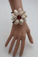 Women Stretch Cuff  Bracelet Fashion White Flower Stones Floral Jewelry Red Bead