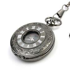 Vintage Steampunk Retro Black Design Pocket Watch Quartz Pendant Necklace Gift