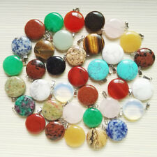 Fashion assorted natural round stone pendants charms for jewelry making 50pcs