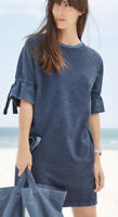 Next blue cotton  tie raglan sleeve sweat sweatshirt pocket tunic dress sz 6-22