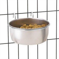 Dog Bowl Classic Stainless Steel Hanging Crate Cup Bowls For Dogs - Choose Size