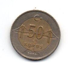 Turkey 50 Kurus Coin 2009 Bi-Metal Collectable