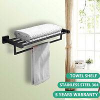 Bathroom Wall Towel Shelf Black Stainless Steel Rail Rack Holder Bars Storage