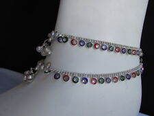 New Women Silver Fashion Rhinestones Chains Jewelry 2 Rows Foot Charm Anklet