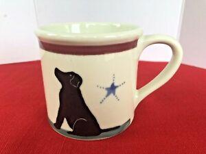 Rare HARTSTONE Pottery STARBUCKS Barista Mug BLACK LAB Dog Hand Painted MINT