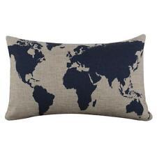 Burlap Linen Dark Blue World Map Decorative Cushion Cover Pillow Case