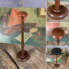 More details for antique georgian wooden hat wig stand large tall shop display turned wood 46cm