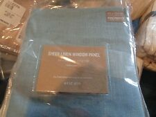 2 West Elm Linen sheer DRAPEs panels  48 x 108 harbor blue  New
