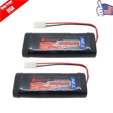 2pcs 7.2V 5000mAh NiMH Rechargeable Battery For RC Car With Tamiya Plug USA
