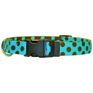 NEW Blue & Brown Polka Dot Dog and Cat Collar or Leash by Yellow Dog Design
