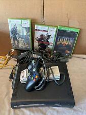 Microsoft Xbox 360 Black Elite 120Gb Console Bundle W/ Cables/Controller/ Games